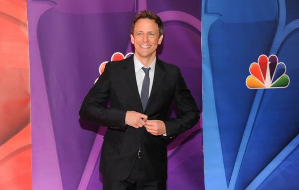 Seth Meyers makes an appearance at NBC's upfront presentation in New York.