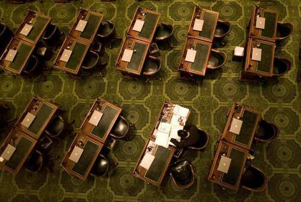The California Assembly floor in a 2008 photo. Lawmakers passed a series of blank budget bills on Monday.