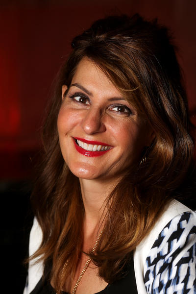 Nia Vardalos, who is promoting her new book about adopting her 3-year-old daughter, is pictured at the Four Seasons Hotel in Chicago on Friday, April 12, 2013.