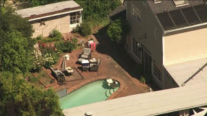 Pool where bear was spotted in La Canada Flintridge.