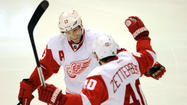 The Red Wings' Pavel Datsyuk, left, and Henrik Zetterberg. (Jerome Miron/USA TODAY Sports photo)