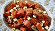 Cubed watermelon with feta and mint