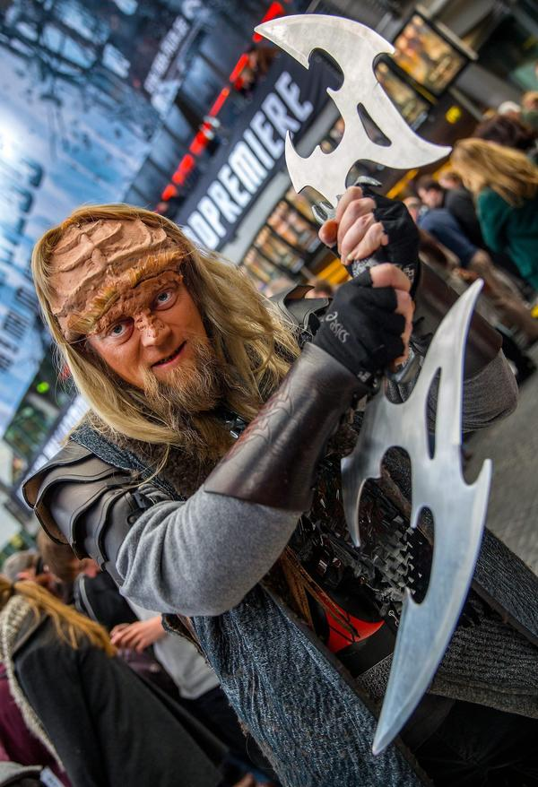 "A fan dressed as a Klingon arrives at the movie premiere of ""Star Trek Into Darkness"" in Berlin."