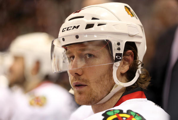 Chicago Blackhawks' Duncan Keith on the bench during 2nd period of 3-2 overtime loss to Minnesota Wild in Game 3 of NHL Western Conference quarterfinals at Xcel Energy Arena in St. Paul, MN on Sunday, May 5, 2013. (Scott Strazzante/Chicago Tribune) ....OUTSIDE TRIBUNE CO.- NO MAGS, NO SALES, NO INTERNET, NO TV, CHICAGO OUT, NO DIGITAL MANIPULATION...