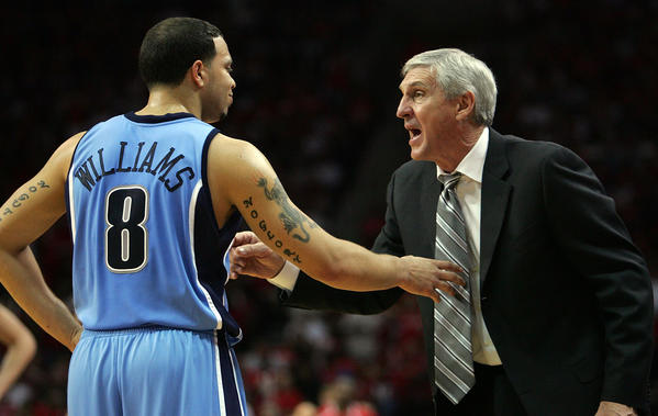 HOUSTON - MAY 5: Head coach Jerry Sloan talks with Deron Williams #8 of the Utah Jazz in Game Seven of the Western Conference Quarterfinals during the 2007 NBA Playoffs at Toyota Center May 5, 2007 in Houston, Texas. NOTE TO USER: User expressly acknowledges and agrees that, by downloading and/or using this Photograph, user is consenting to the terms and conditions of the Getty Images License Agreement. (Photo by Ronald Martinez/Getty Images) (basketball pro)
