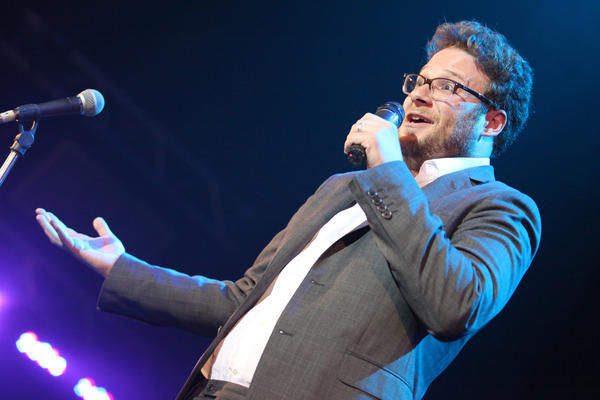 Comedian Seth Rogen speaks on stage in Hollywood during the second annual Hilarity For Charity benefiting the Alzheimer's Assn.