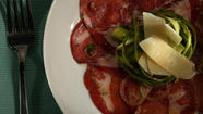 Shaved asparagus with Italian coppa