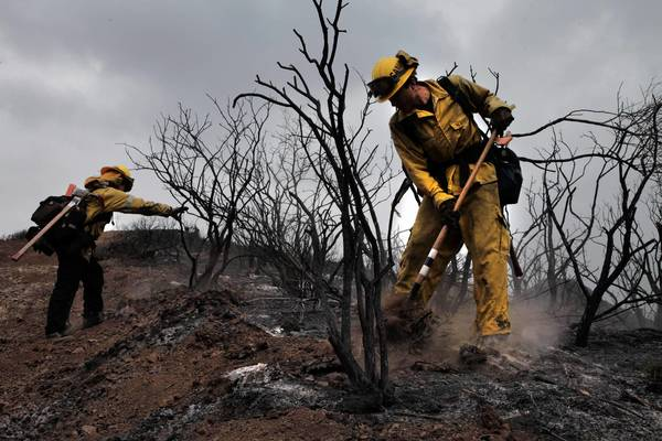 Crews battle the Springs fire in Ventura County last week.