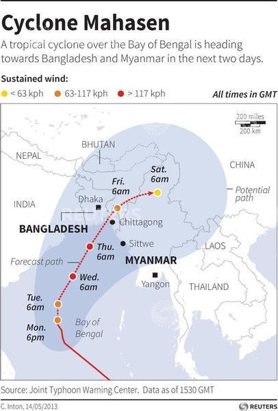 Map of South Asia locating the forecast and potential path of Tropical Cyclone Mahasen which is moving towards Bangladesh and Myanmar