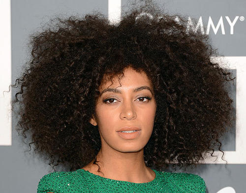 Singer Solange Knowles with unrestrained hair.