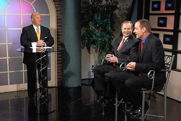 Tony Iannelli, president and CEO of the Greater Lehigh Valley Chamber of Commerce (left), moderates a discussion between Lehigh County executive candidates, Republicans Dean Browning (center) and Scott Ott, on 'Business Matters' on April 8.