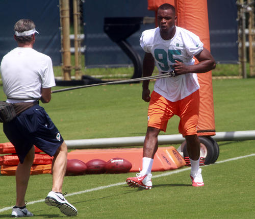 First round pick Dion Jordan during the first day of the Miami Dolphins  three-day mini-camp for the rookies.