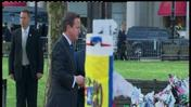 British PM David Cameron visits Boston Marathon memorial