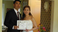 Becky Chiu & Tony Eng Married May 13, 2013 At Pine Manor Mt Prospect, IL in an intimate ceremony in the garden with their closest friends and family. The ceremony took place at 1:30pm Monday May 13th. Becky wore a beautiful strapless white dress and train. She was given way by her brother. The couple live in Chicago, IL. Rev Pamela IL Wedding Officiant, officiated the ceremony in her home Pine Manor located in Mount Prospect, IL. The 1920's Dutch Colonial home features a beautiful garden and a bridal suite where the bride prepared before the ceremony. This unique wedding venue offers an intimate, home elegance perfect for a small guest list of up to 30, or a private elopement to Chicagoland's Northwest suburbs. Interfaith Minister performs your wedding your way including handfastings and commitment ceremonies! GLBT & pagan friendly. Also available for baptisms and naming. 847-873-7463 8-8pm CST please. http://smallpartyvenue.com packages include In-home catering and all event planning.
