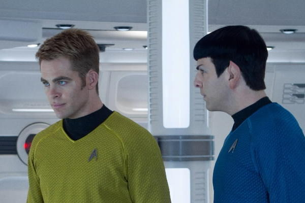 "Chris Pine, left, and Zachary Quinto star in ""Star Trek Into Darkness."""