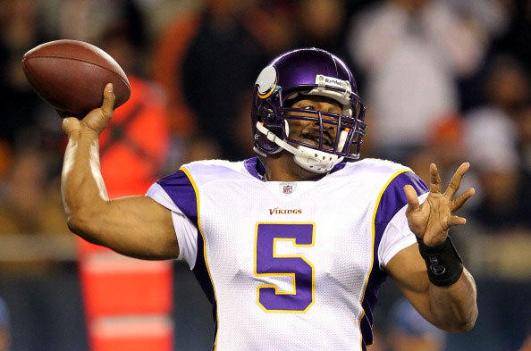 Quaretrback Donovan McNabb # 5 of the Minnesota Vikings passes during the game against the Chicago Bears on October 16, 2011 at Soldier Field in Chicago, Illinois.