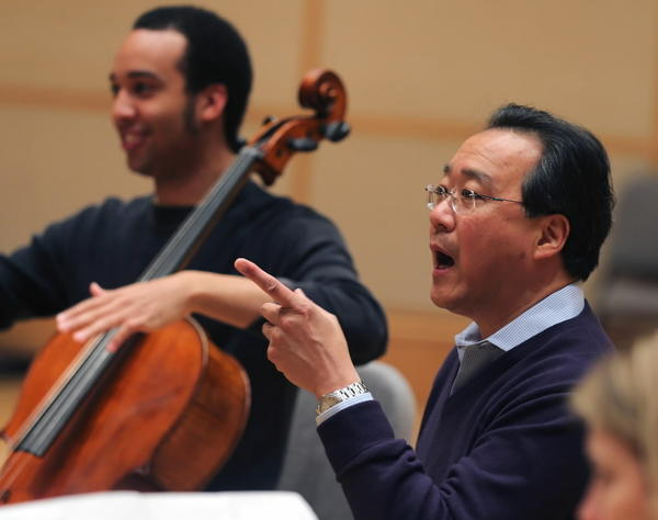 Cellist Yo-Yo Ma works with the young Civic Orchestra in April.