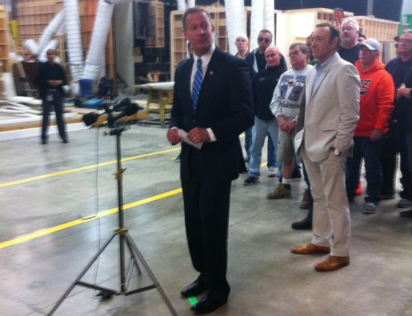 "Gov. Martin O'Malley and actor Kevin Spacey on the ""House of Cards"" set surrounded by Maryland crew members who have found steady employment on the Netflix series."