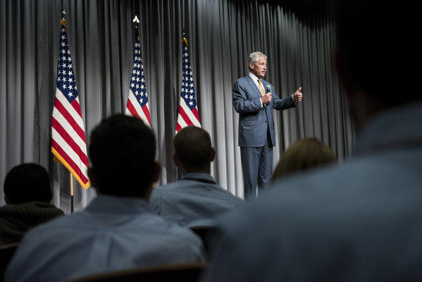 Secretary of Defense Chuck Hagel speaks about furloughs during a town-hall-style meeting at the Department of Defense's Mark Center in Alexandria, Va.