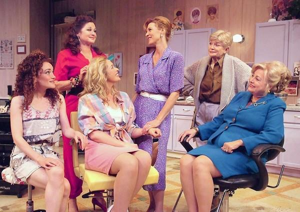 "Joanna Strapp, Stephanie Zimbalist, Alyson Lindsay, Elyse Mirto, Teri Ralston and Von Rae Wood in Laguna Playhouse's ""Steel Magnolias."""