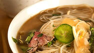 "Pho (say: <em>fuh)</em>, that mesmerizing Vietnamese beef soup, takes time. Even Nancie McDermott's superb recipe in her ""Quick & Easy Vietnamese"" (Chronicle) — itself an express version — requires first making a broth with a pound of round steak."