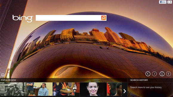 A screen grab of the Bing search engine home page featuring Millennium Park's Bean.
