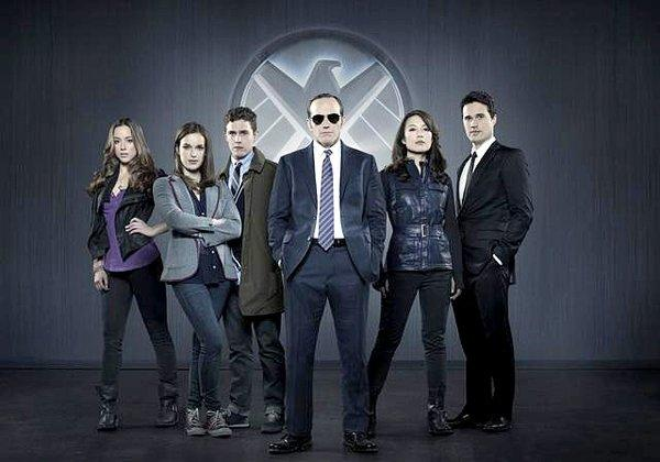 """Marvel's Agents of S.H.I.E.L.D.,"" Marvel's first television series, is from executive producers Joss Whedon, Jed Whedon & Maurissa Tancharoen. From left - Chloe Bennet, Elizabeth Henstridge, Iain De Caestecker, Clark Gregg, Ming-Na Wen and Brett Dalton."