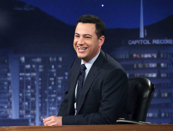 "This July 25, 2012 photo released by ABC shows Jimmy Kimmel hosting his late night show ""Jimmy Kimmel Live,"" in  Los Angeles."