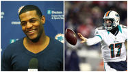 Mike Wallace, the Dolphins' speedy new wide receiver, apparently likes what he sees from quarterback Ryan Tannehill in passing drills.