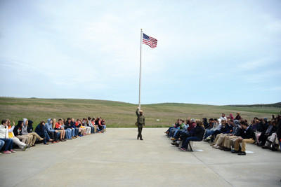 Park Ranger Brendan Wilson speaks to students at the Flight 93 National Memorial in Stonycreek Township.