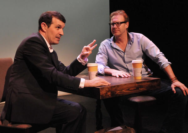 "Dan (Michael Yavnieli, left) and Jeff (Jeff LeBeau) catch up, hash out old differences and contend with new revelations in ""Years to the Day,"" Allen Barton's world premiere at the Beverly Hills Playhouse."