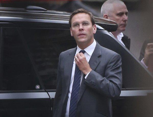 James Murdoch sold $25 million in News Corp. non-voting shares this week. Pictured: James Murdoch adjusts his tie as he arrives at the High Court to give evidence to the Leveson Inquiry on April 24, 2012, in London.