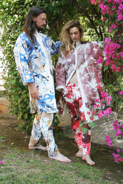 Colorful avant-garde prints by William Lemon III brighten denim pieces from THVM.
