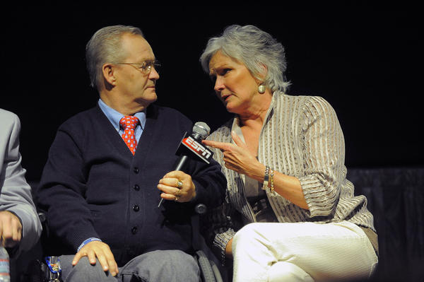 Ron Turcotte, confined to a wheelchair since an accident left him paralyzed, chats with horse racing analyst Charlsie Cantey during a discussion before a documentary film about Secretariat and the jockey that rode the Triple Crown winner, at its premiere at AFI Silver Theatre on Tuesday.