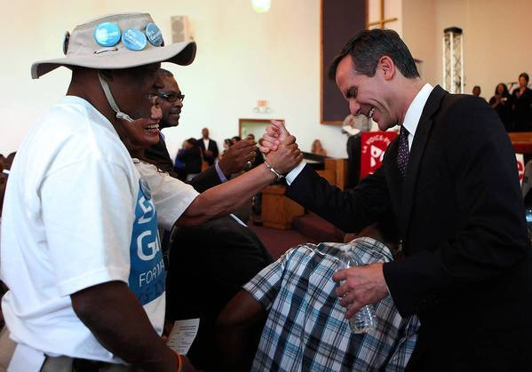 Los Angeles City Councilman Eric Garcetti greets supporters at a candidates forum at Macedonia Baptist Church on Monday.