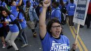 Rally at the Los Angeles Unified School District meeting