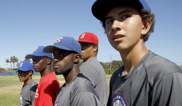 Thirteen out of 19 players on the Gardena Serra High School varsity baseball team are African-American.