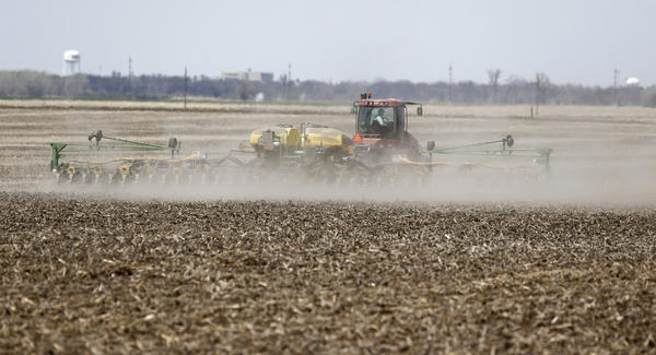 Paul Larson plants corn on 160 acres of land south of Aberdeen Friday. American News Photo by John Davis