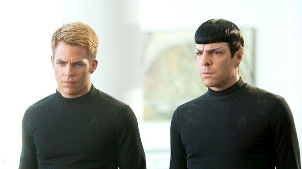 "Chris Pine is Kirk and Zachary Quinto is Spock in ""Star Trek Into Darkness."""