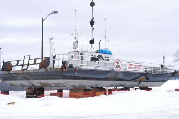 The Ironton Ferry sat at the Boyne City municipal boat launch over the winter, waiting for repairs that came later than expected and are still not quite finished. The ferry usually begins operating by mid-April and officials are hoping it will be ready by Memorial Day this year.