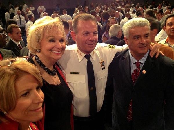 In this photo from the sheriff's official Facebook page, Ann Zucker poses with Sheriff Scott Israel. Also pictured are Lisa and Angelo Castillo, who also were hired by Israel.