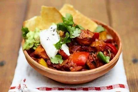 Jamie Oliver's Vegetarian Chilli is packed with beans, bell peppers and tomatoes.