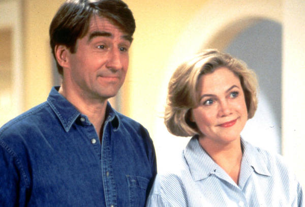 "Sam Waterston and Kathleen Turner star in ""Serial Mom."""