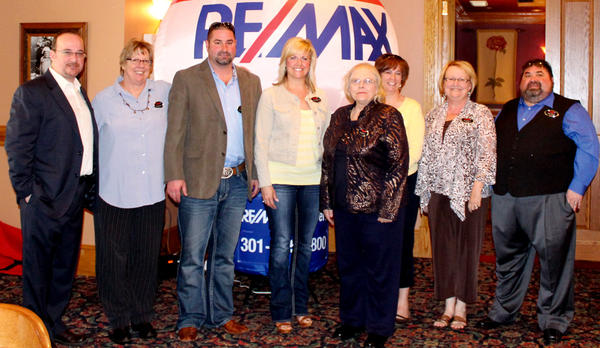 Members of the RE/MAX 100 Percent Club are, from left, Steven L. Powell, co-owner of RE/MAX Achievers of Hagerstown, Charlotte Ashton, Derek L. Heckman, Jeanine K. McVicker, Joan Jernigan, Kelly E. Kline, Debra Moser and Andy Lapkoff, co-owner of RE/MAX Achievers of Hagerstown. Not pictured are Sandy Snyder and Lynnette Potter.
