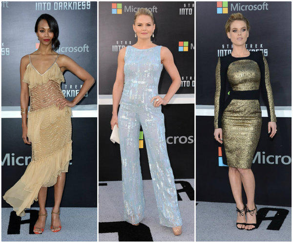 "Among the stars working the futuristic fashion vibe at the premiere of ""Star Trek: Into Darkness"" were, from left, Zoe Saldana in Rodarte, Jennifer Morrison in Edition by Georges Chakra and Alice Eve in Zuhair Murad."