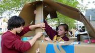 More than 50 high school students built cardboard houses at First Presbyterian Church of Deerfield on Saturday to raise money and awareness for homeless people.
