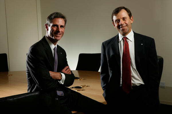 Mark A. Hoppe, director, president and CEO, Cole Taylor Bank, left, and Bruce W. Taylor, president and CEO, in a 2008 file photo.