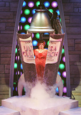 "NEW YORK, NEW YORK, JULY 17, 2002 -- Harvey Fierstein, playing Edna Turnblad in Hairspray, emerges from a can of hairspray in the final dress rehearsal before ""previews"" of the show begin on Broadway. DAVID HOBBY Sun Staff  FILM"