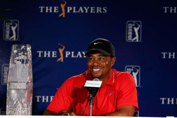 Tiger Woods speaks to reporters after winning the final round of The Players Championship at TPC Sawgrass - Stadium Course.