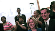 "After months of slashing at each other's integrity and trustworthiness, mayoral candidates Wendy Greuel and Eric Garcetti largely put <a href=""http://www.latimes.com/news/local/la-me-mayor-daily-20130515,0,2943306.story"">aside</a> their differences with one week left before the May 21 election as they supported <a href=""http://www.latimes.com/local/lanow/la-me-ln-greuel-garcetti-school-board-20130514,0,3896510.story"">non-controversial</a> education policy changes before Los Angeles school leaders on Tuesday."